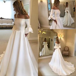 Discount pockets bow wedding dress - Simple Off The Shoulder Half Sleeve Satin Court Train Wedding Dresses Covered Button A Line Bridal Gowns Robes De Mariée