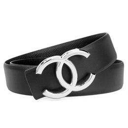Genuine leather cowboy belts online shopping - The latest smooth buckle designer gold and silver belt men and women boutique leather fashion cowboy belt can be