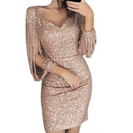 9556a5f1d4b women winter dress Sexy Solid shiny Sequined Stitching Shining Club Sheath  hollow Long Sleeved Mini party Dresses robe femme