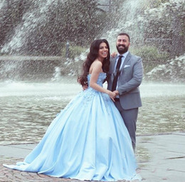 Pictures Black Coral Beads Australia - Light Sky Blue Quinceanera Dresses 2019 Sweet Heart Backless 3D Flowers Beads Prom Party Gowns For Sweet 16 vestidos de 15 anos