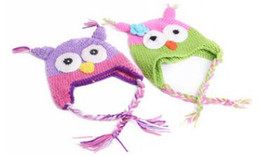 knitted childrens spring hats UK - Toddler Owl Crochet Knit Woolly EarFlap Hat Baby Handmade crochet Hat childrens handmade owl Knitted hat 17Color For Choose