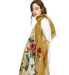 Scarfs Cotton UK - 2019 new women's luxury satin printing quality fashion 180*90cm retro brand thin section cotton and linen scarf