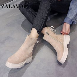 Simple ShoeS bootS online shopping - ZALAVOR Simple Ankle Boots Solid Color Round Toe Flats Shoes Side Zipper Cross Strap Winter Warm Women Footwear Size