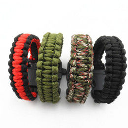 $enCountryForm.capitalKeyWord NZ - Camping Hiking Survival Parachute Cord Bracelet For Men Women Rope With Whistle Buckle Emergency Kit Wristbands Men Jewelry