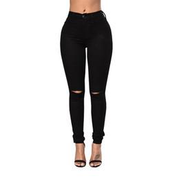$enCountryForm.capitalKeyWord Australia - Knee Hole Ripped Jeans for Women Mid Waist Denim Plus Size Fashion Pants Black Casual Design Ladies Pencil Trousers