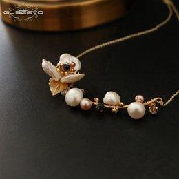 $enCountryForm.capitalKeyWord Australia - Glseevo Natural Fresh Water Baroque Pearl Flower Pendant Necklace For Women Luxury Fine Jewellery Bijoux Collares Collane Gn0064 MX190713