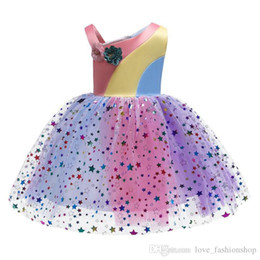 $enCountryForm.capitalKeyWord Australia - Retail kids designer clothes girls dress rainbow matching mesh star sequins flower girl dresses for wedding party prom princess dress cloth