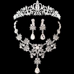 Bride Jewelry Set Crystal Australia - rystal bridal set Hot Sale Noble Crystal Bridal Sets Hotsale Silver Fashion Wedding Jewelry Tiara Necklace Earrings for Brides Bridesma...