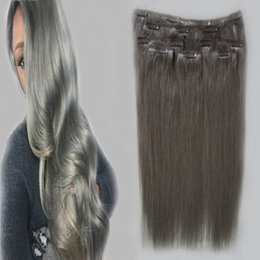"""$enCountryForm.capitalKeyWord UK - hot Grey Clips In Hair Extensions 100g grade 7a virgin unprocessed brazilian straight hair silvery grey clips ins hair extensions 18"""" 20"""" 22"""