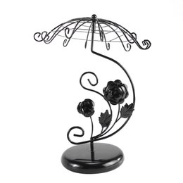 $enCountryForm.capitalKeyWord UK - 1 Pc Iron Hanging Rose Antique Umbralla Jewelry Holder Display Tower Stand Organizer Rack for Earring Bracelet Necklace