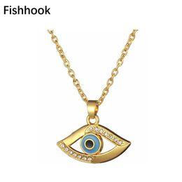 Egypt Pendants Australia - Fishhook The Eye of Horus Drill Crystal Pendant Necklace Golden Necklace Men's Egypt Ethnic Gift Jewelry for Women Amulet Charm