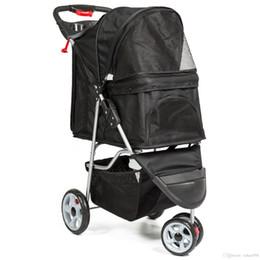 3-Rad-Folding Pet Stroller Reiseträgerwagen für Katzen und Dogs- Schwarz im Angebot