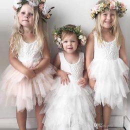 $enCountryForm.capitalKeyWord NZ - Stylish Lovely Short Flower Girls Dresses Lace Ruffles Tulle Tutu Dress Puffy Little Girls Formal Wedding Party Gowns Little Girls Dresses