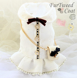 Wholesale tweed winter jacket resale online – handmade luxurious dog clothes vintage C style tweed chain bag pearl classic dog dress autumn winter spring small pet