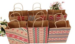 $enCountryForm.capitalKeyWord Australia - Christmas Kraft Paper Printed Gift Bags Handbag XMAS Presents Favors Toys Clothes Wrap Totes Shopping Carrier Handle Bag Packaging colorful