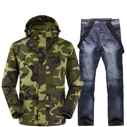 Men caMouflage suit jacket online shopping - Men s snowboard set Bionic camouflage jacket and breathable waterproof straped denim ski pants in a variety of colors to from