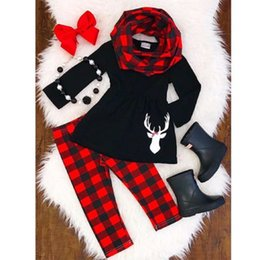 red dressed cartoon girl Australia - 2-6T Toddler Kids Baby Girl Outfits Clothes Deer T Shirt Dress+Leggings Christmas Set CY200515