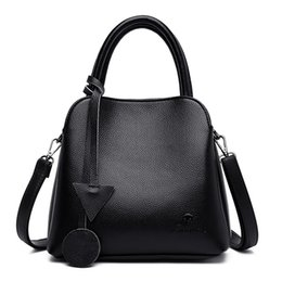 big handbags pockets Canada - 2020 New Handbags Women Bags Leather High Quality Ladies Tote Bags 3 Pockets Big Capacity Shoulder Women