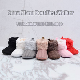 Baby Boot Crochet Wholesale Australia - Baby Ankle Snow Boots Winter Warm First Walkers Solid Infant Crochet Knit Fleece Baby Shoes For Boys Girls