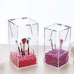 $enCountryForm.capitalKeyWord Australia - Clear Acrylic Makeup Pearl Box Lipstick Brushes Organizer Cosmetic Case Desktop Storage Box Pencil Holder Makeup Tools