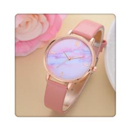 Valentine Gifts For Ladies Australia - Casual Women Watches Luxury Leather Strip Marble Dial Dress Wristwatch Quartz Clock For Valentine Ladies Gift