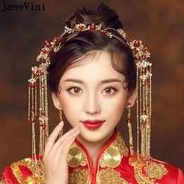 ancient chinese headdress 2019 - JaneVini Elegant Ancient Chinese Red Beading Bridal Headdress Golden Long Tassel Hairpins Wedding Ornaments Brides Hair