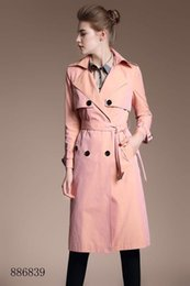 Vintage T Shirt Rayon Australia - Women double-breasted long trench coat jacket pink Double Breasted Coat Jackets Trench Coats Evening Wear Dresses Blouses Shirts T-shirts