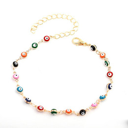 Discount white bracelet chain boys - Europe and America Hotsale Women Bracelet Anklets Yellow White Gold Plated Devil Eyes Anklet Chains for Girls Women Nice