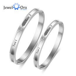 Name Plate Jewelry Sets Australia - Couple Bangles Personalized Gift Engraved Name ID Bracelets & Bangles For Lovers Stainless Steel Jewelry ( BA102311)