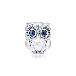 sterling silver pendant charms Canada - Sparkling Owl charm 925 Sterling Silver Animal beads Fit Pandora Style Charms Bracelets Pendant Necklace Diy for Women Jewelry 798397NBCB