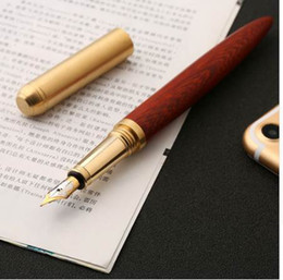 $enCountryForm.capitalKeyWord Australia - High Quality vintage Fountain Pen Rosewood and Brass Pen gift sign pen Pure Copper for travel, office, business