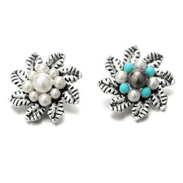 Noosa sNap jewelry online shopping - Noosa mm Snap Button Rhinestone Pearl Leaf Flower Snaps DIY Ginger Snap Button Crystal Charms Bracelet Necklace Jewelry