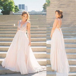 Wholesale custom v neck shirts for sale – custom 2019 Deep V Neck Long Bridesmaid Dresses with Bowknot Sequins Evening Dresses Cheap Chiffon Backless Custom Made Maid of Honor Gowns