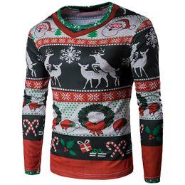 649a1ad04aadf Vêtements de Noël Tshirt 3D imprimé de motif de wapiti de Noël de mode pour  hommes