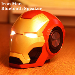 wireless helmets Australia - Wireless Speaker Iron Man Helmet Bluetooth Speaker 2 Colors Portable Marvel MP3 Player Super Hero Sound Box FM TF USB Aux- For iOS Andriod