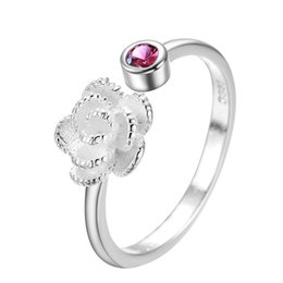 $enCountryForm.capitalKeyWord Australia - Rose Flower Open Ring S925 silver Finger Ring For Women Adjustable Romantic Wedding Red Crystal CZ Love Gifts Jewelry