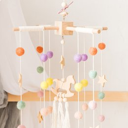 baby rattles Australia - 1 set Baby Mobile Bed bell Silicone Beads Beech Wood Bird Rattles Kid Room Bed Hanging Decor wood rodent Children Products Toy T200429