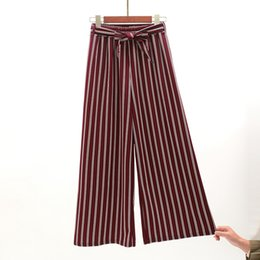 $enCountryForm.capitalKeyWord Australia - Summer 2019 Bohemian Style Striped Wide Leg Pants Bow Ties Decorate Ankle Length Trousers Women Loose Casual Female Pants