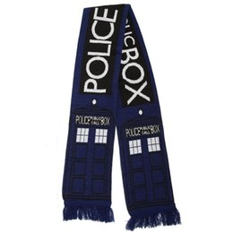 Discount blue latex costume - wrap box Dr Doctor Who Tardis 8' Public Call Box Cosplay Blue Scarf Neckchief Wrap tardis scarf