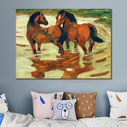 two horse oil painting Australia - Canvas art modern painting by Franz Marc Two horses in the alluvial handmade home decor