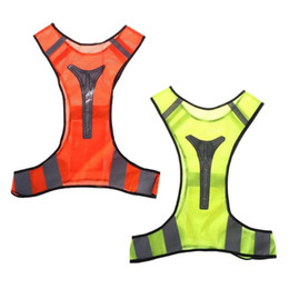 orange cycling vest UK - Cycling Reflective Vest LED Running Outdoor Safety Jogging Breathable Visibility