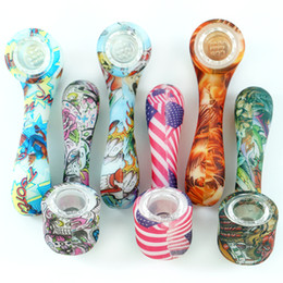 Acrylic smoke pipes online shopping - glow in the dark smoking pipe creative Silicone Hand Pipes Tobacco Pyrex Colorful Cute bong with removable glass bowl for Smoking water pipe