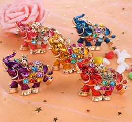 cute car keychains 2020 - DHL 3D Crystal Rhinestone Cute Elephant Metal Keychain Keyring Car Keychains Purse Charms Handbag Pendant metal animal p