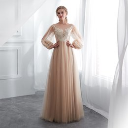 vestidos gala lace plus Australia - 2019 A Line Champagne Prom Dresses Long Puff Sleeves Venice Lace Full Length Evening Dresses Party Gown Formal Dresses vestidos de gala