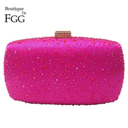 $enCountryForm.capitalKeyWord Australia - Boutique De FGG Hot Pink Fuchsia Crystal Diamond Women Evening Purse Minaudiere Clutch Bag Bridal Wedding Clutches Chain Handbag Y190619