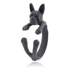 Punk Rings UK - Black Color Punk America Boston Terrier Rings For Women Children Free Size Hippie Hop Animal Dog Ring Men Children Jewelry For Pet Lover