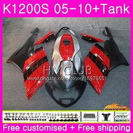 fairing bmw k Australia - Body+Tank For BMW K1200 S K 1200 S K1200S 05 06 07 08 09 10 Kit Nice Black Red 30HM.3 K-1200S K 1200S 2005 2006 2007 2008 2009 2010 Fairing