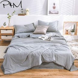 $enCountryForm.capitalKeyWord Australia - 2019 INS Nordic Grey White Lines Bedding Set Wash Microfiber Polyester 4pcs Summer Quilt Bedlinens Bedsheet Pillowcases