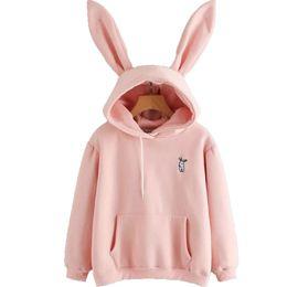 Cartoon Rabbit Hoodies UK - 2019 Harajuku Hoodies Women Long Sleeve Rabbit Embroidered Sweatshirt Pullover Autumn Lovely Rabbit Ears Jumper Sweet Cartoon