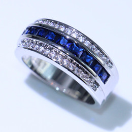 Sapphire Wedding Band Gold Australia - Choucong New Arrival Hot Sale Fashion Jewelry 10KT White Gold Fill Princess Cut Blue Sapphire CZ Diamond Men Wedding Band Ring For Lover